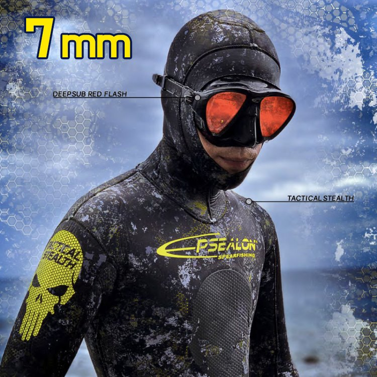 [2A4167] EPSEALON Tactical Stealth 7mm Spearfishing Wetsuit